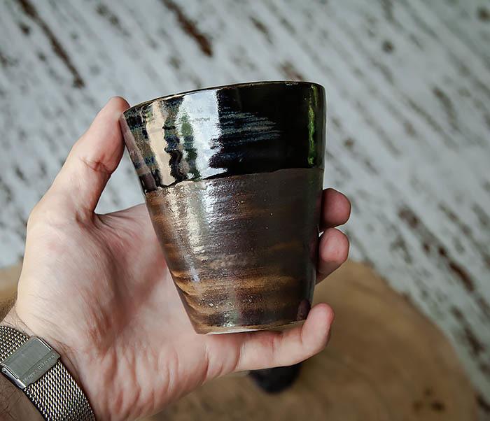CUP105-2 Крупный керамический стакан ручной работы фото 05