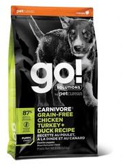 Корм беззерновой для щенков всех пород, GO! Natural holistic, CARNIVORE GF Chicken,Turkey + Duck Puppy Recipe DF, 4 вида мяса: Индейка, Курица, Лосось, Утка