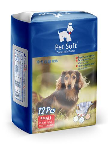 Pet Soft одноразовые впитывающие подгузники для животных размер S 12 штук