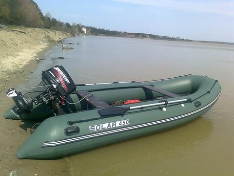 Надувная ПВХ-лодка Солар - 450 Jet Tunnel (зеленый)
