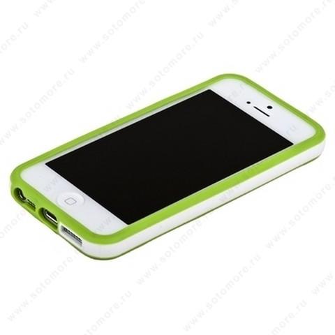 Бампер для iPhone SE/ 5s/ 5C/ 5 зеленый с белой полосой
