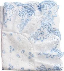 Папитто. Уголок из кружевного полотна с шитьем, голубой вид 3