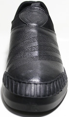 Мужские слипоны черные кожаные на лето Pandew.