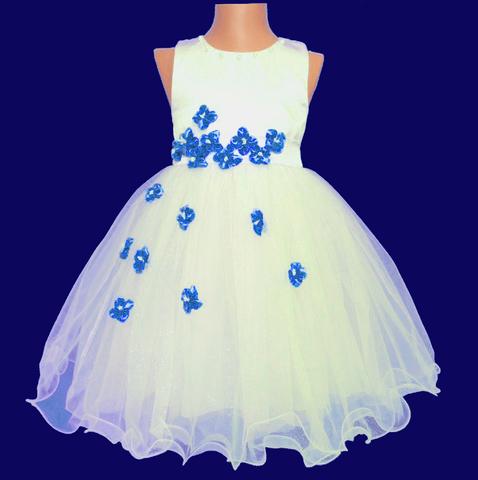 Платье для малышек с синими цветами