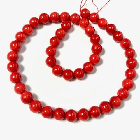 Бусины коралл красный шар 8,5 мм 24 бусины