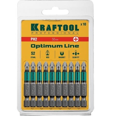 Биты KRAFTOOL Optimum Line, PH2, 50 мм, тип хвостовика E 1/4