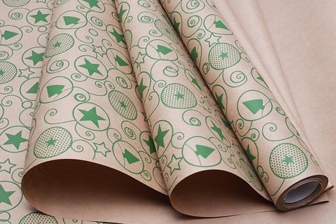 Бумага крафт 70г/м2, 70 см x 10 м, Гирлянда, цвет: зеленый