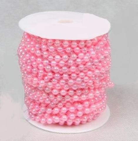 Бусы на бобине (размер: 8мм х 10м) Цвет:розовый
