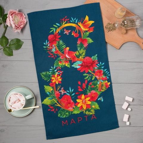 Полотенце кухонное 8 Марта 35х60 см цвет: синий