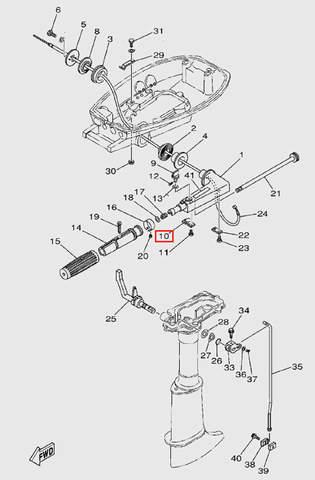 Пластина регулировки румпеля для лодочного мотора T5 Sea-PRO (9-10)