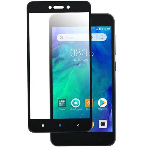 Защитное стекло для Xiaomi  Redmi GO c черной рамкой, полная проклейка