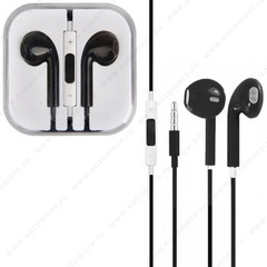 Наушники-ракушки EarPods для iPhone SE/ 5s/ 5C/ 5 проводные с регулировкой громкости черные