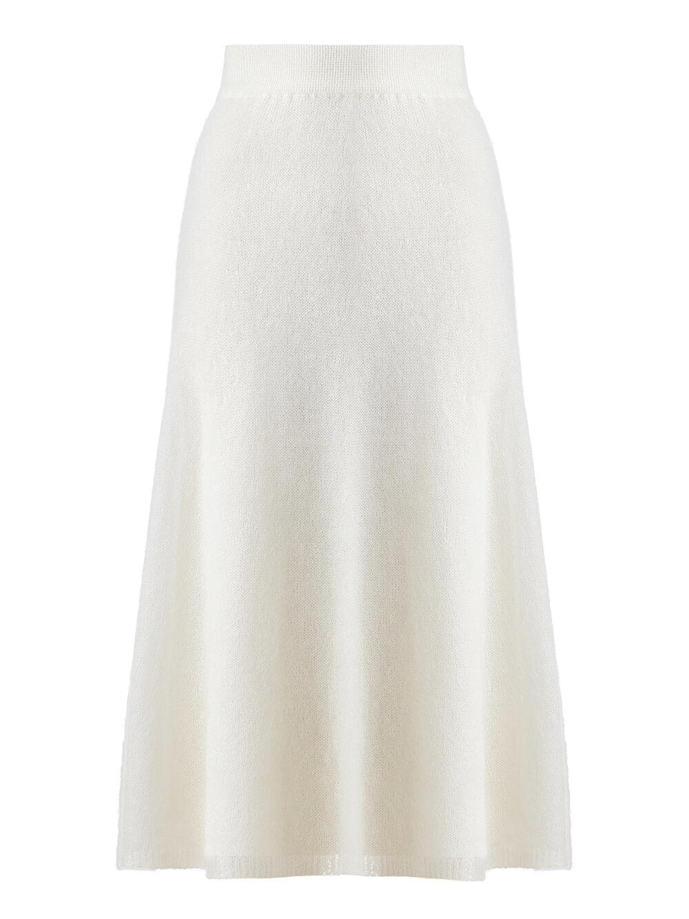 Женская юбка молочного цвета из мохера - фото 1