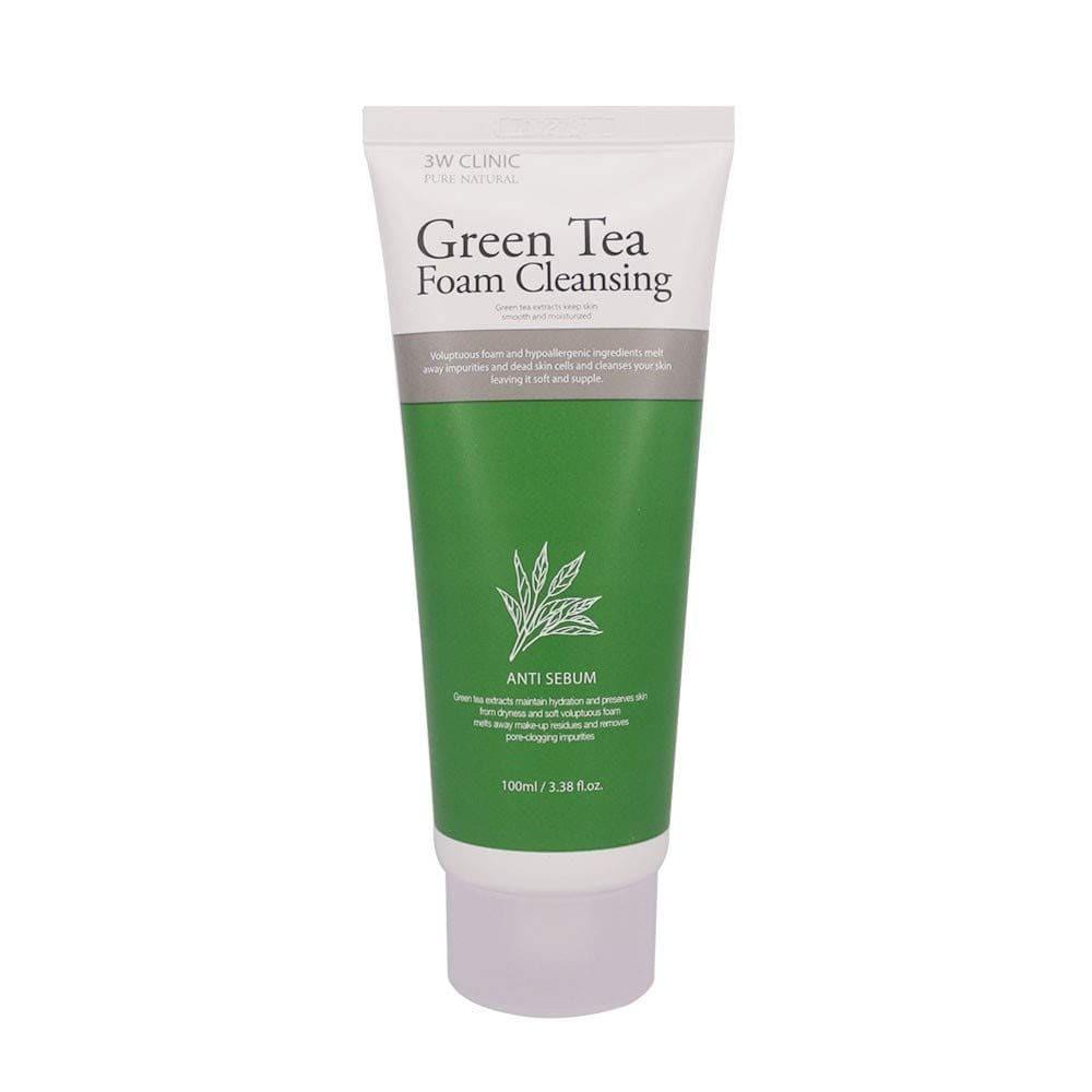 3W Clinic Green Tea Foam Cleansing — Пенка для умывания с экстрактом зелёного чая