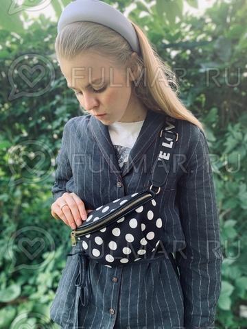Оригинальная женская поясная сумка в горох с поясом Love Чёрная