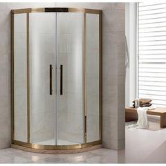 Душевое ограждение Grossman PR-100G золото, 100х100, с раздвижными дверьми, полукруглое