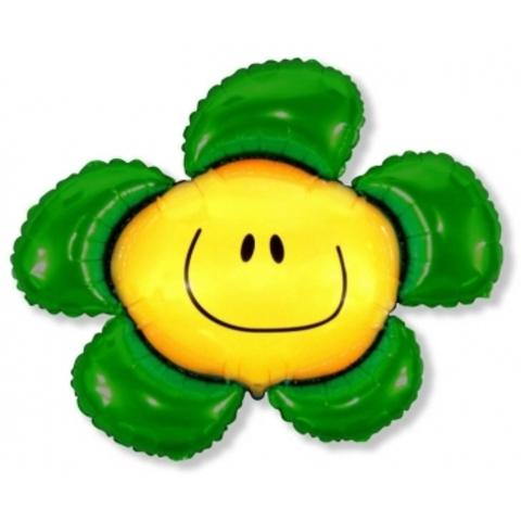 Фольгированный воздушный шар Солнечная улыбка. Зеленый.