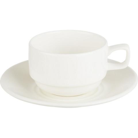 Чайная пара Wilmax фарфоровая белая чашка 220 мл/блюдце (артикул производителя WL-993008)