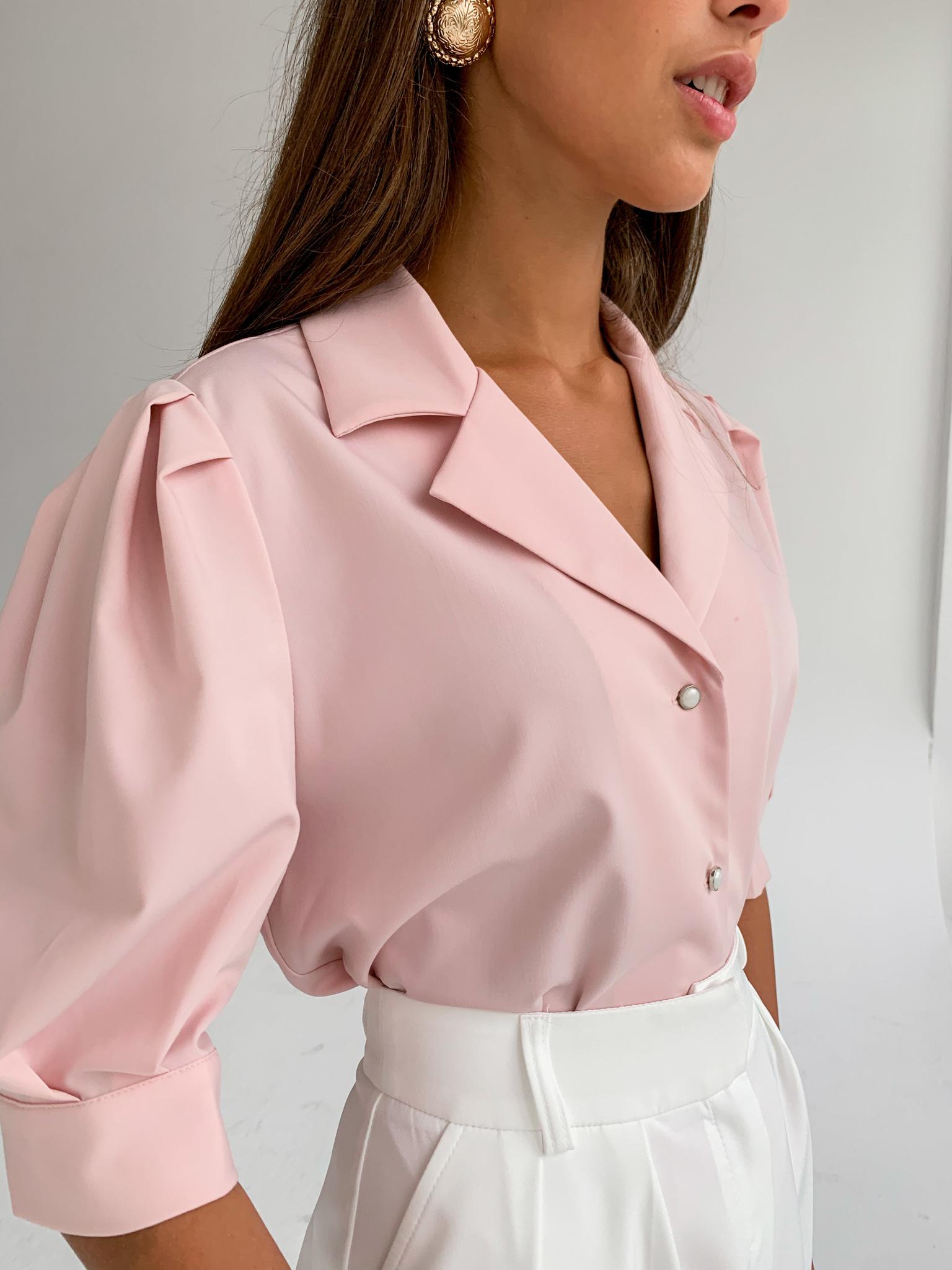 Рубашка с английским воротником и пышным рукавом (пудровый)
