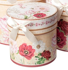 Набор коробок круглых Жардин 3шт, D21хH21см, бежевый/розовый