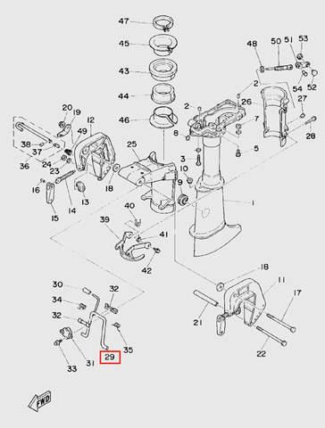 Рычаг фиксации наклона для лодочного мотора T5 Sea-PRO (10-29)