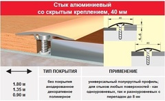 Порог- стык 40 мм, 0.9м (скрытое крепление) цвет: серебро, золото