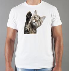 Футболка с принтом Кот, Кошка, Котенок (кошки) белая 0060