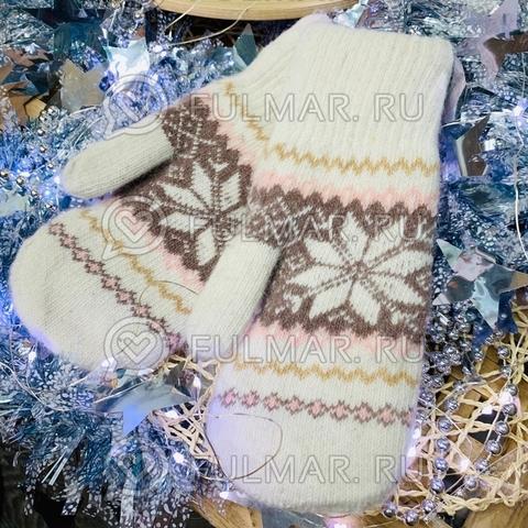 Варежки шерстяные вязаные Большая Снежинка (цвет: Бело-розовый)
