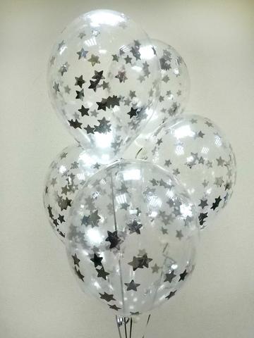 Воздушные шары с серебряными звездами