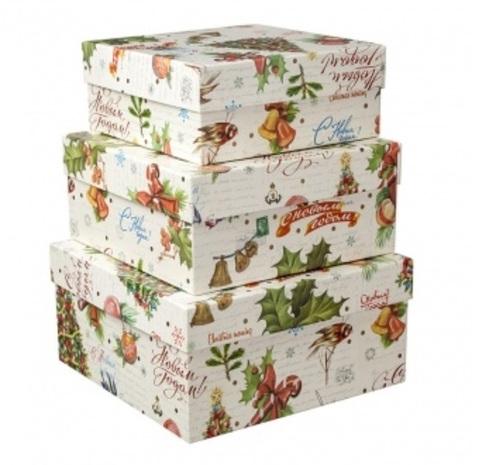 Набор коробок подарочных квадратных Новогодняя Ель из 3шт, размер: 19х19х9,5 см
