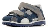 Детские сандалии Котофей 422050-21 из натуральной кожи, для мальчика, синий-серый-белый. Изображение 1 из 5.