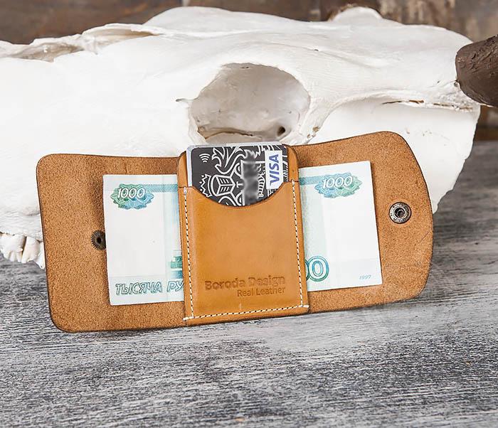 Boroda Design, Коричневый кожаный маленький кошелек ручной работы