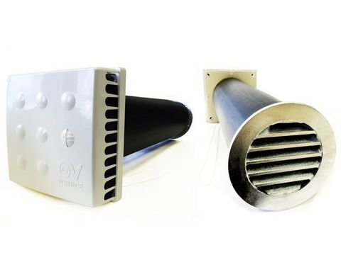 Приточный клапан KIV Quadro 125 0,5 м с алюминиевой решеткой