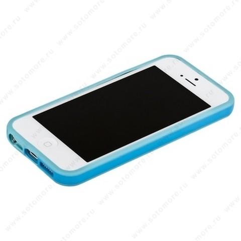 Бампер для iPhone SE/ 5s/ 5C/ 5 голубой с голубой полосой