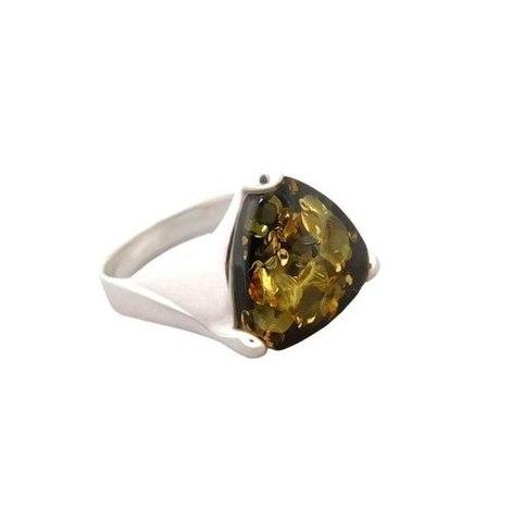 аккуратное серебряное кольцо с зелёным янтарём