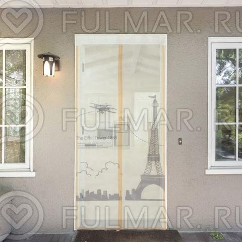 Дверная москитная сетка на магнитной ленте с рисунком Париж 80x210 см Бежевая