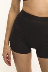Впитывающие высокие трусы-шорты с увеличенной впитывающей ластовицей (Черные, Размер XS)