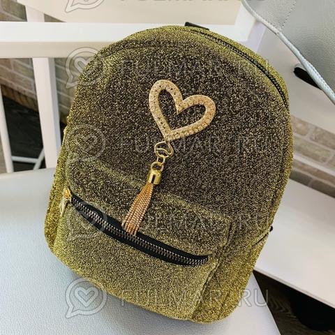 Рюкзак для девочки Блестящий Оливковый 25х20х12 см