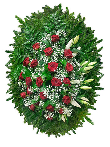 Траурный венок из живых цветов ВЖ 21