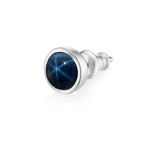 Моносерьга ALPHA - Синий звёздчатый сапфир