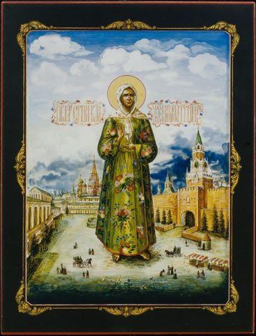 Икона святая Матрона Московская на дереве на левкасе
