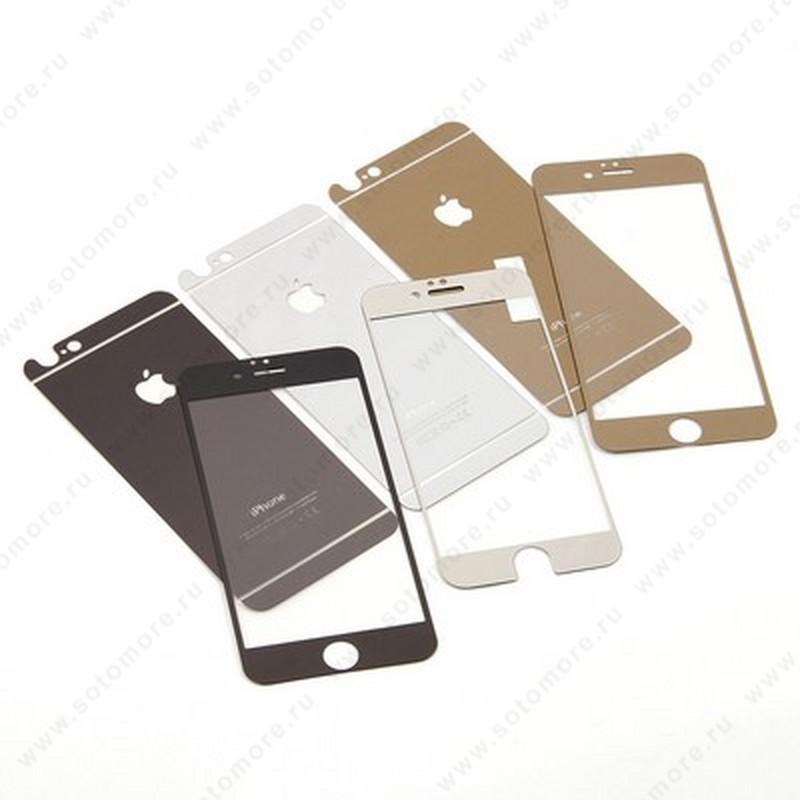 Стекло защитное SOTOMORE для Apple iPhone 4s/ 4 - толщина 0.26 mm в упаковке 2в1 зеркальные голубые