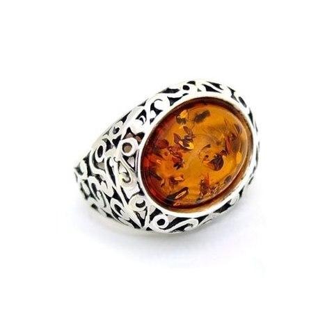 ажурное серебряное кольцо с коньячным янтарём