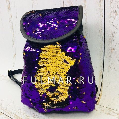 Рюкзак-мешок с пайетками меняющий цвет (фиолетово-золотистый) Мини
