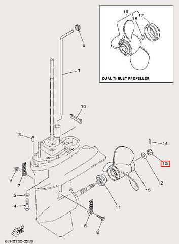 Гайка винта для лодочного мотора F9,9 Sea-PRO (26-13)