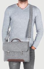 Серый войлочный портфель Gmakin для Macbook Air/Pro 13,3 на металлических застежках