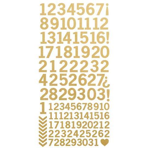 Стикеры с цифрами 15*30см -Kaisercraft Number Stickers - Metallic Gold