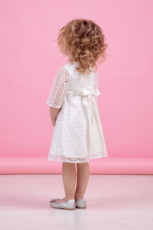Платье белое для девочки 38-9014-1