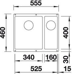 Схема Мойка Blanco Subline 340/160-U (вид сверху)