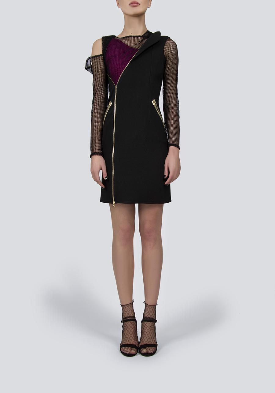 Платье черное трикотажное с сеткой и декором из молний